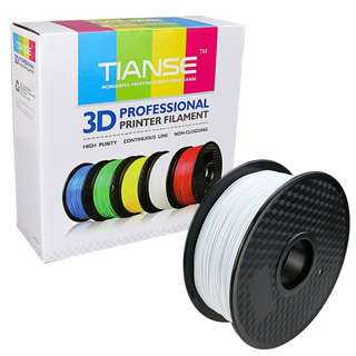 306 (Brand New) TIANSE White PLA 3D Printer Filament, 1 kg Spool, 1.75 mm, Dimensional Accuracy +/- 0.03 mm