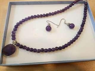 Amethyst crystal gemstone set