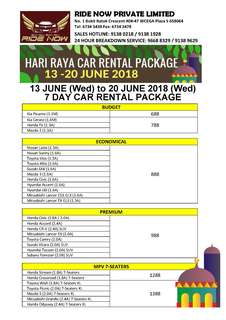 Hari Raya Car Rental 13 - 20 June 2018