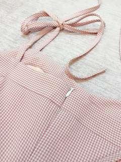 草莓牛奶🍓甜美綁帶格紋洋裝