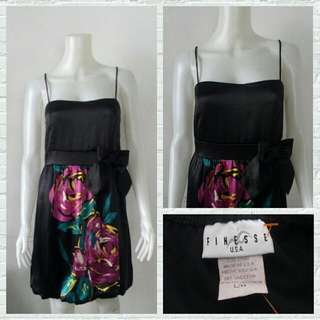 Finesse USA Black Cocktail Dress With Flower Print & Ribbon Detail