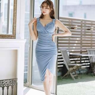 Asymmetrical V Neck Bodycon Midi Dress