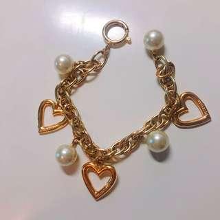 Vintage Moschino 金色心心珍珠手鍊 gold tone heart pearl bracelet
