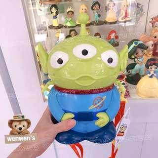 🚚 【Wenwens】日本 迪士尼 玩具總動員 三眼怪 收納桶 爆米花桶 點心桶 置物桶 附背帶 單售價 高約25cm