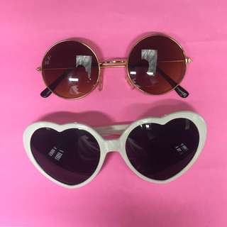 heart sunglasses and round sunglasses