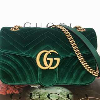 Authentic Gucci Marmont velvet emerald small