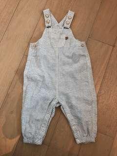 H&M Jumpsuit Cotton Linen in White-Blue Stripes