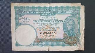 MALAYA CURRENCY 1940