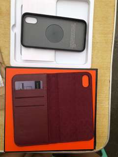 Iphone X Magnetic Leather case(Wine Red)