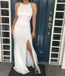 White Backless Halter Long Gown with Slit