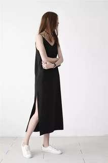 Black slit midi dress