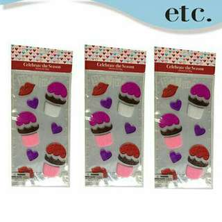 Three (3) Cupcake Heart Gel Stickers