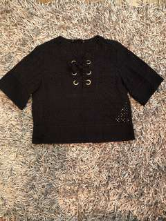 Authentic Zara navy blue perforated blouse -excellent condition