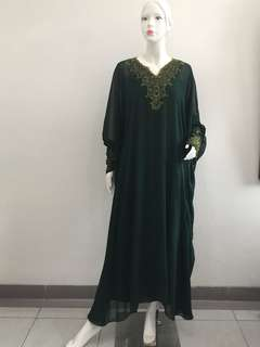 Kaftan Green Chifon Gold All Size