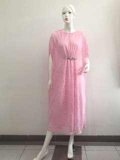 Kaftan Brukat Soft Pink