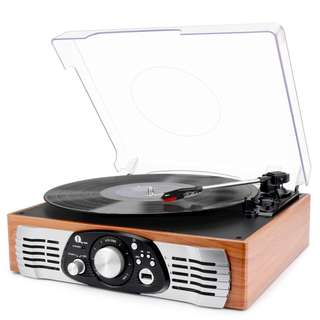 309 (Brand New) 1byone Belt-Drive 3-Speed Stereo Turntable with Built in Speakers, Supports Vinyl to MP3 Recording, USB MP3 Playback, and RCA Output, Natural Wood