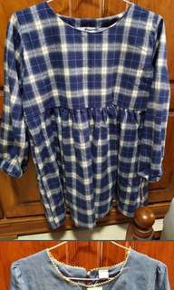 Checkered blouse / dress / navy blue