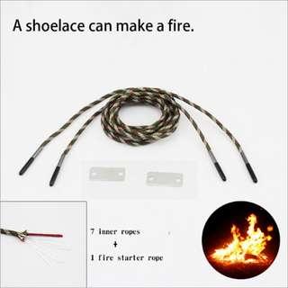 1 Pair 1.3m Camping Fire Survival Shoelace/Rope  运动荒野逃生伞绳求生鞋带 1.3米打火石登山鞋带#405