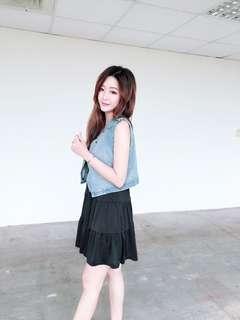 🚚 全新現貨代購💲 490今天訂明天出❤️   #韓妞最愛單寧背心蛋糕洋裝休閒套裝組