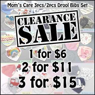 *CLEARANCE SALE* Mom's Care 100% Cotton Drool Bibs Set