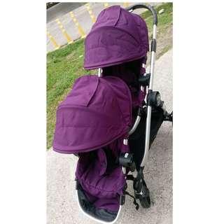 美國Baby Jogger City Select 雙人嬰兒/娃娃推車(銀管+亮紫)