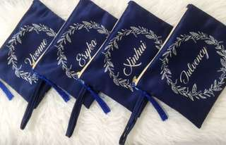 🚚 CUSTOM SATIN POUCH blue floral