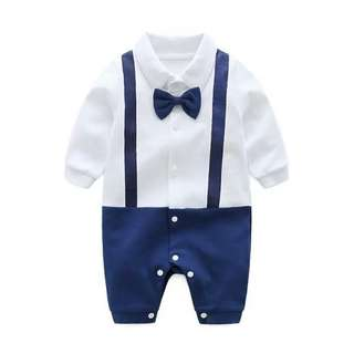 Trendy Color blocking Gentlemen Straps and Bow-Tie Jumpsuit forBaby Boys