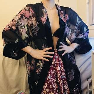 Floral sheer black kimono robe with velvet and tassels