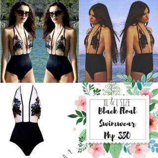 Plus size Black floral swimwear