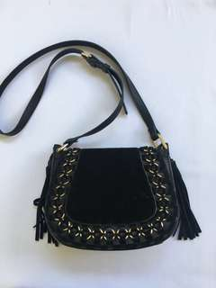 Mango Black Suede Crossbody Bag