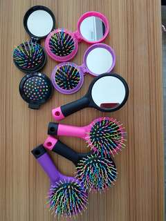 Colourful foldable comb and brush