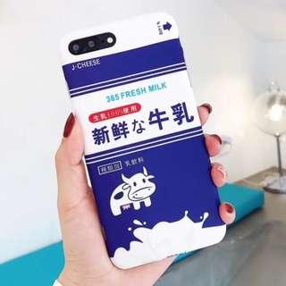 手機殼IPhone6/7/8/plus/X : 韓風新鮮乳牛飲料包裝全包邊軟殼