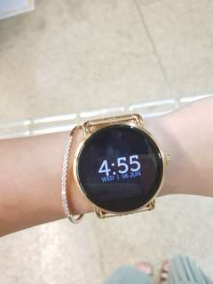 EEUC Fossil smart watch with rose gold strap and original leather strap