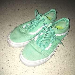 Pastel mint green Vans