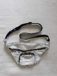 White/Silver Sequins Fanny Pack