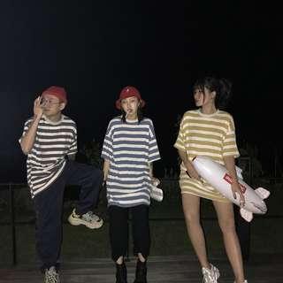 VM 2018女裝 學生基本款百搭圓領 中性長款條紋短袖T恤 情侶閨蜜款 3色