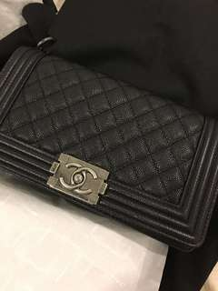 AUTHENTIC CHANEL MEDIUM CAVIAR BOY BLACK WITH RUTHENIUM HARDWARE