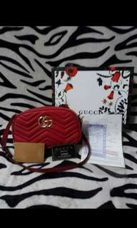 Gucci Marmont Red Leather GG Sling Bag