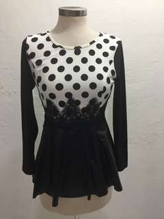 Polkadot Long Sleeve Tshirt with Leather