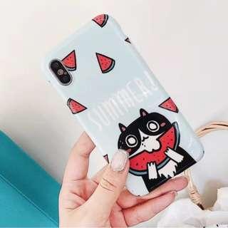 手機殼IPhone6/7/8/plus/X : 可愛貓咪吃西瓜全包邊軟殼