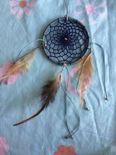 Handmade Dreamcatcher (baby blue and grey with dark blue)
