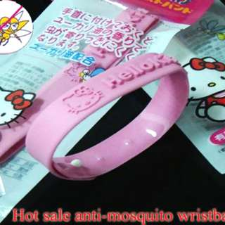 BNIP Japanese HELLO KITTY Rubber Silicone Mosquito Insect Repellent Wristband, Pink color