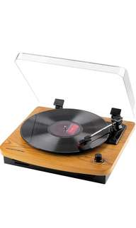 (75) Musitrend LP 3-Speed Turntable with Built-in Stereo Speakers, Vintage Style Record Player Support Vinyl-To-MP3 Recording, RCA Output, Natural Wood