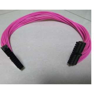 24 Pin Atx PSU Power Supply Extension Custom Braided Pink 60cm