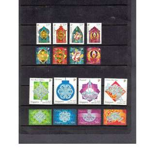 Two sets of Different Mint stamps depicting two sets of Identical Festivals in Singapore (price for two sets)