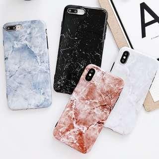 #手機殼IPhone6/7/8/plus/X : 簡約大理石紋全包黑邊軟殼