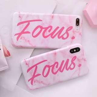 #手機殼IPhone6/7/8/plus/X : 粉紅大理石配字母全包邊軟殼
