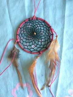 Handmade Dreamcatcher (pink, blue and grey/brown)