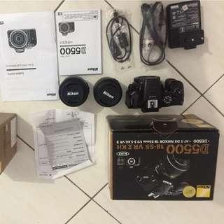 Nikon D5500 + Lensa kit 18-55mm + Lensa AF-S Nikkor 35mm 1:1.8G Mulus 99% Mulus