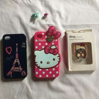 iPhone 4 & 4s Cases with 2 free accessories & ring